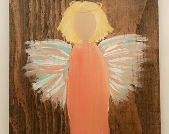 Earth Angel my Guardian Dear, hand painted Angels, Personalised Guardian Angel, Memorial, peach blue blond