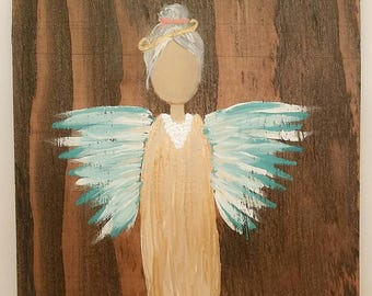 Earth Angel my Guardian Dear, hand painted Angels, Personalised Guardian Angel, Memorial, blue gold, peals grey