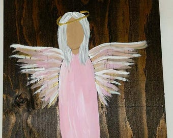 Earth Angel my Guardian Dear, hand painted Angels, Personalised Guardian Angel, Memorial, grey pink and go