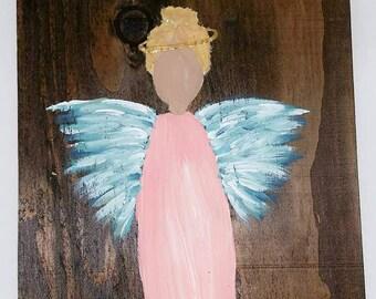 Earth Angel my Guardian Dear, hand painted Angels, Personalised Guardian Angel, Memorial