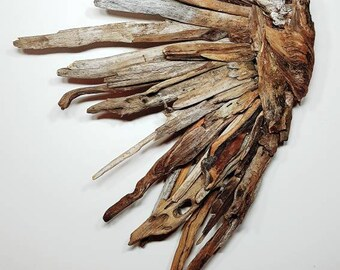 Fear Knot Angel, left wing, driftwood art, driftwood wing, wood working, angelic, wall decor, earthchildbydesign angel.