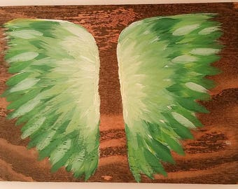 Earth Angel my Guardian Dear, hand painted Angel wings, green and white
