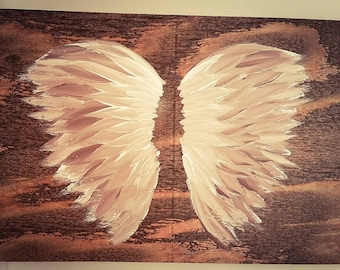 Earth Angel my Guardian Dear, hand painted Angel wings, plum and white