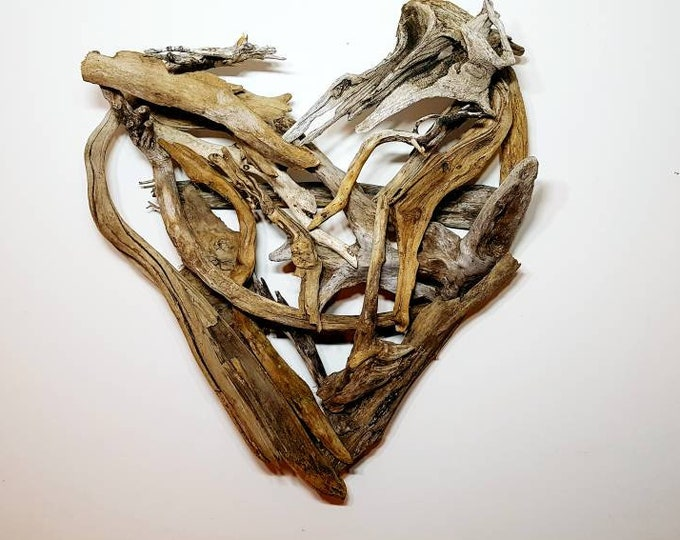 Featured listing image: Driftwood Heart, Love, Wood Heart, Driftwood Art, Driftwood Sculpture, Wall Art, Reclaimed Driftwood, Driftwood wall art