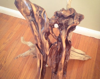 Driftwood Display piece, 2 pc 2 tone, Drifwood sculpture. Refinished Driftwood