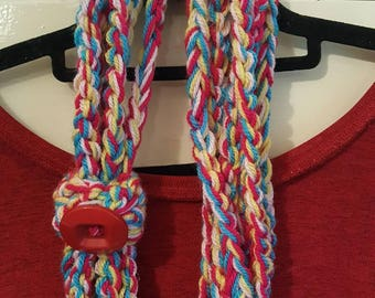 Colourful crocheted necklace