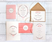 Printed Wedding Stationery Set 'Bows & Blooms'