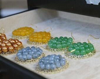 Gemstone Beaded Gold Filigree Earrings