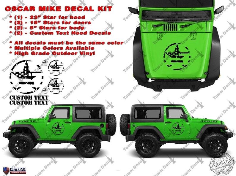 Oscar Mike Grunge US Flag Distressed Star Kit America Vinyl Decal Fits Jeep Wrangler TJ JK
