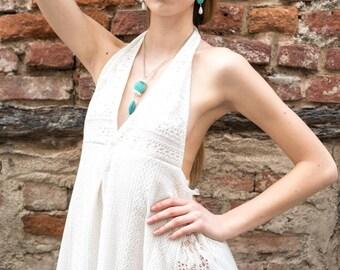 Hand stitched white lace dress