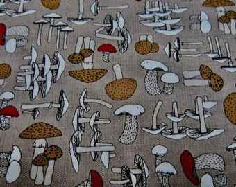 7d93ad9c86e Beige Mushroom Cotton Fabric Called Woodland Pitter Patter Designed by Nina  Djuric For Northcott Fabrics