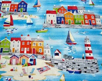 Makower UK Sailboat Coast Scenic Cotton Fabric Called Beside The Sea Harbour