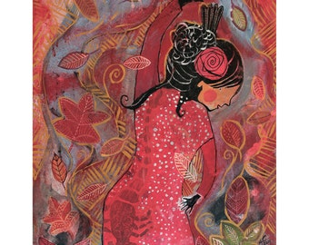 Powerful flamenco dancer holding the sun and moon original canvas painting