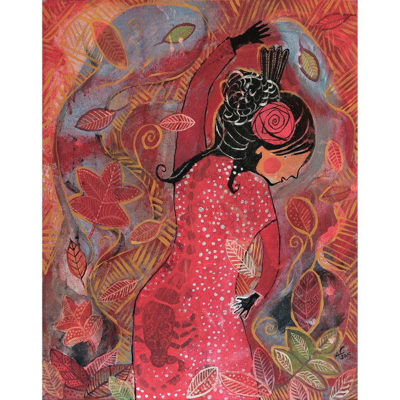Powerful flamenco dancer holding the sun and moon original image 0