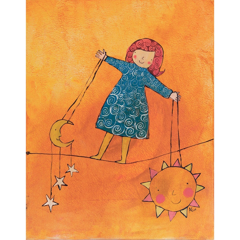 Balancing girl holding the sun and moon original canvas image 0
