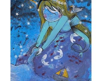 Mermaid original canvas painting