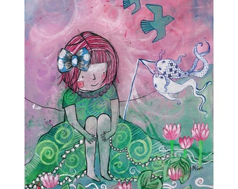 Thoughtful Girl original canvas painting