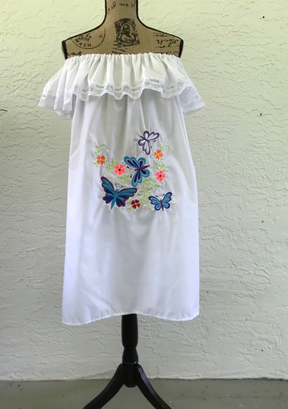 sundress blue embroidered summer dress sayulita vacation dress Off the shoulder floral embroidery mexican dress mexico honeymoon dress