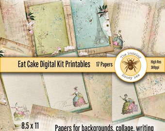 Eat Cake Digital Kit Printable Papers