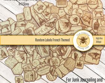 Random Labels French Theme for Junk Journaling Digital Printable
