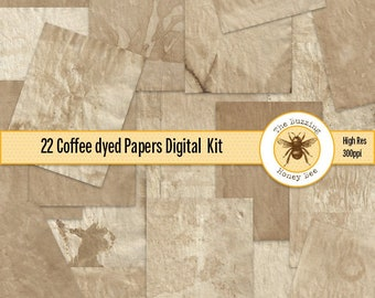 Coffee Dyed Papers Digital Download Printable