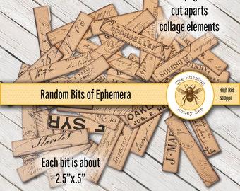 Random Label Bits for Junk Journaling Digital Printable