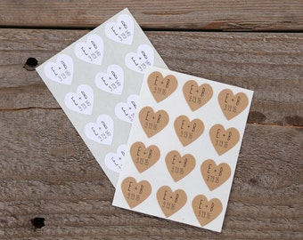 108 Custom Heart Stickers With Initials and Date - Wedding Stickers and Envelope Seals