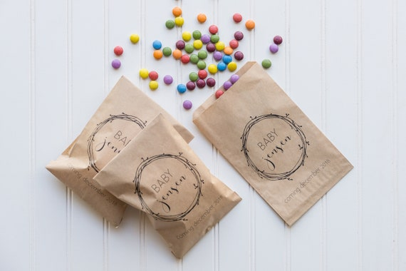 Personalized Baby Shower Favor Bags Popcorn Bags Candy Etsy