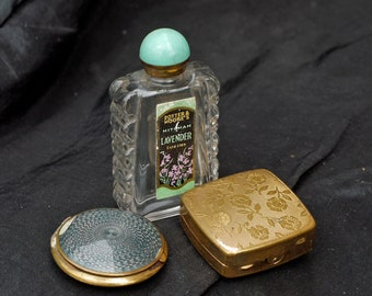 Vintage Potter & Moores perfume Bottle, Brass Compact,Powder Box