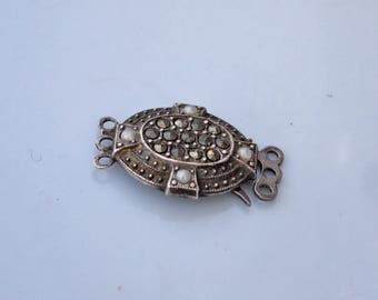 Vintage Silver Tripple Tier Necklace Catch with Marcasites