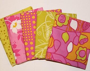 Cotton Fat Quarter Bundle, Bright Pink & Green Assortment, Fabric Destash, 5 Pc Bundle