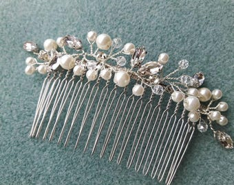 Hand crafted Wedding, Bridal, Evening handcrafted silver haircomb. Created with Ivory pearl beads and Diamanté mix
