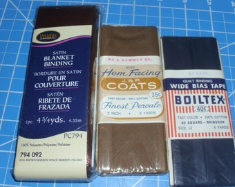 Quilt Binding / Blanket Binding / Hem Facing / Brown Quilt Binding / Wrights / Boiltex / J and P Coats / Blanket and Quilt Trims