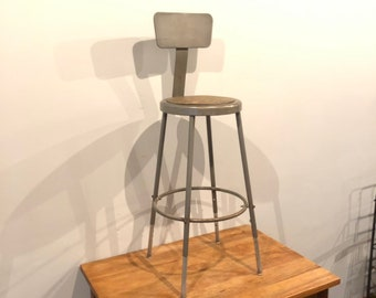 Vintage industrial height adjustable steel stool in grey 24 30""