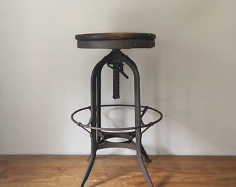 Vintage UHL toledo furniture adjustable height stool great patina 29-34  high : toledo chair - Cheerinfomania.Com