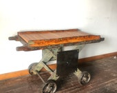 Vintage industrial factory die cart side table - perfect for TV table