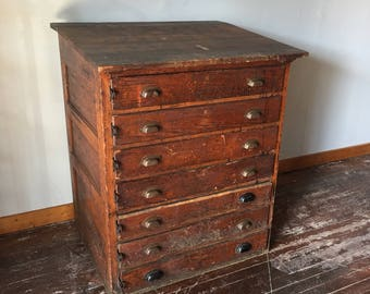 Antique Oak Drafting / Printers Sloping Cabinet.