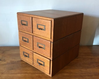 Vintage 6 drawer tiger oak library card file - beautiful patina 2 available