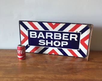 Double sided porcelain barber ship flange sign