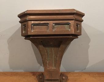 Vintage copper gutter hopper repurposed into a church podium great craftsmanship