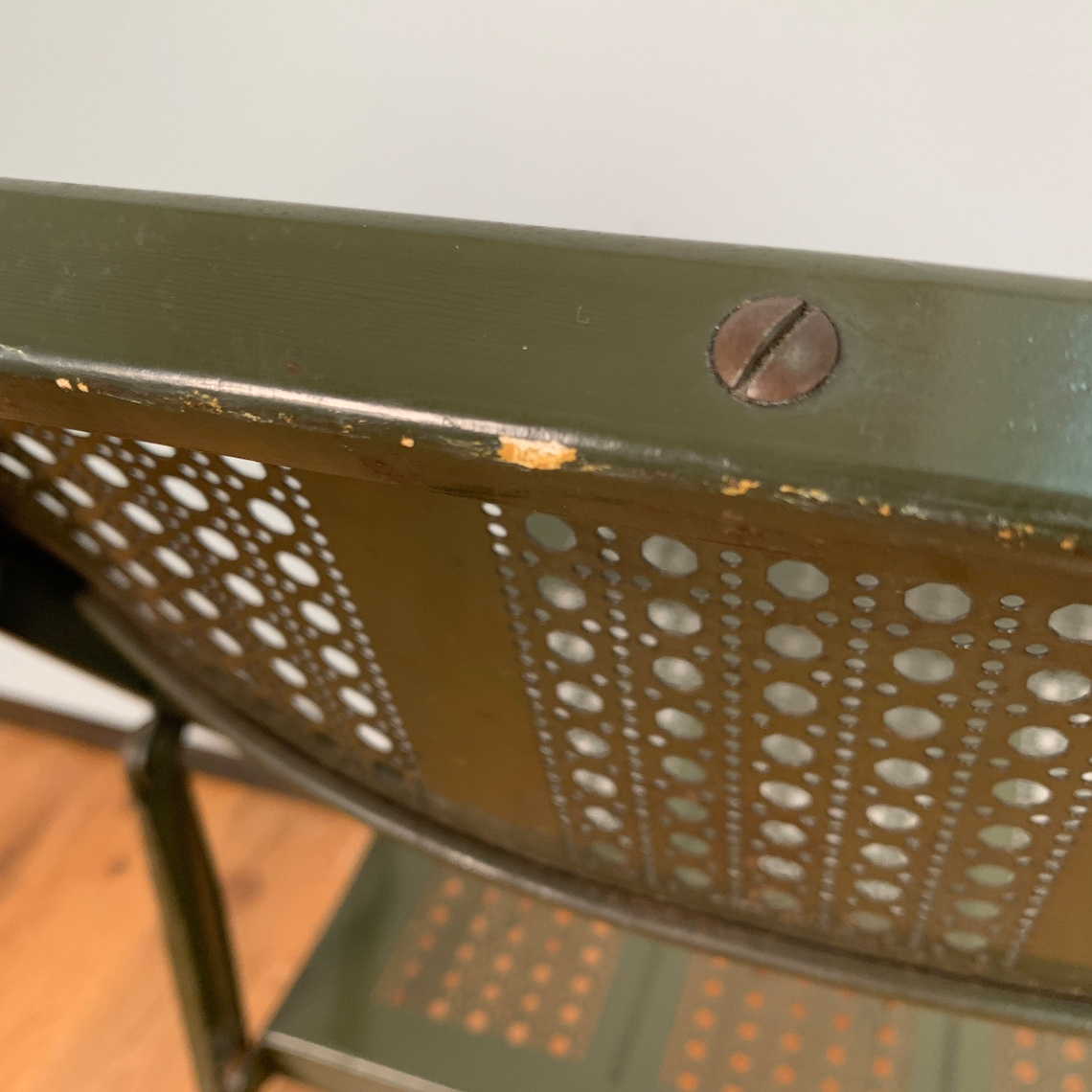 Vintage Industrial factory green folding steel chairs - Quantity available