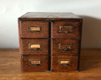 Vintage 'Macey Wernicke' dovetailed 6 drawer tiger oak library card index file - great original condition