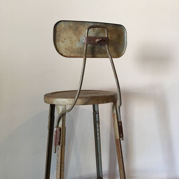 Peachy Vintage Industrial Hallowell Drafting Stool 23 27 Height Adjustable Caraccident5 Cool Chair Designs And Ideas Caraccident5Info