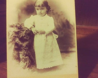 Little Girl with Curls and Lace Dress - Antique Cabinet Card Photograph