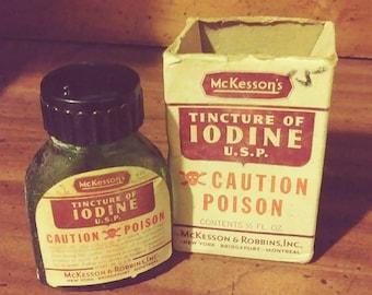 Vintage McKesson & Robbins Poison Bottle - With Original Box - Tincture of Iodine