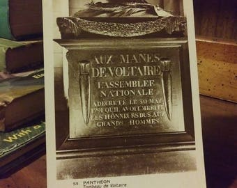 Vintage French Postcard, Tomb of Voltaire