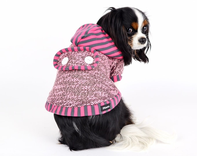 Pink Hooded Dog Sweater Jacket REVERSIBLE Sherpa Lined