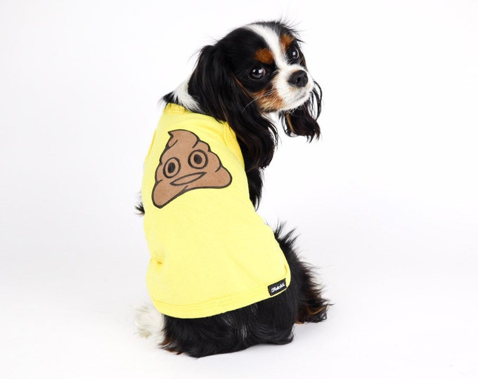 Poop Emoji Dog Tshirt Handmade Small Dogs Yellow Hilarious Free Shipping