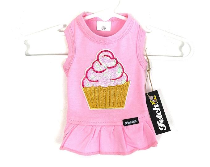 Sequin Cupcake Dog Birthday Dress Cotton Jersey Knit Tshirt Fabric Handmade Free Shipping