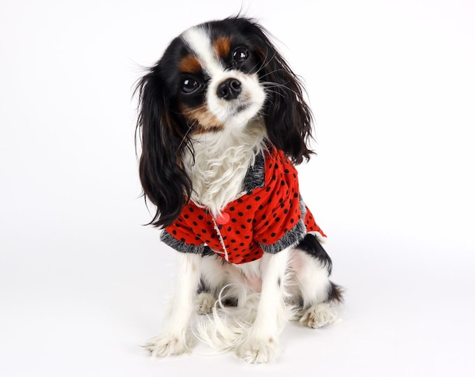 Polka Dot Dog Hooded Sweater Jacket Sherpa Lined Red Black